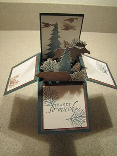 Pop-up box card using retired Stampin Up Pines set