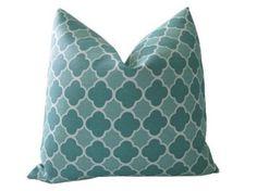 "Amazon.com: Decorative Designer Pillow Cover-12""x18"" inch-Clover Trellis in Tonal Teal Lumbar: Home & Kitchen"