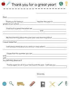 Print this thank-you note template for your child to fill out and present to his or her teacher.