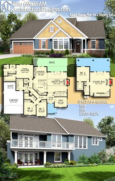 Love the balcony overhang, to the corner and smaller porch downstairs - Architectural Designs House Plan 69639AM gives you 4 beds, 3 baths and over 3,900 sq. ft. of heated living space. Ready when you are. Where do YOU want to build? #69639AM #adhouseplans #architecturaldesigns #houseplan #architecture #newhome #newconstruction #newhouse #homedesign #dreamhome #dreamhouse #homeplan #architecture #architect #ranch #northwest