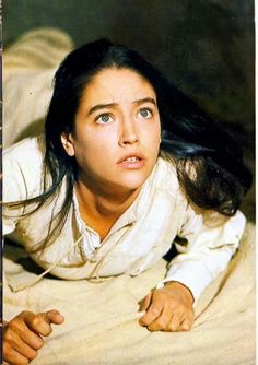 """Olivia Hussey as the Virgin Mary in """"Jesus of Nazareth"""" .listening to Gabriel. Olivia Hussey, Julie Andrews, Leonard Whiting, Lucas 1, Jesus Christ Superstar, Great Love Stories, Blessed Virgin Mary, British Actresses, Blessed Mother"""