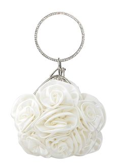 This White Satin Rosette Wristlet Clutch comes with a rhinestone embellished ring handle to easily fit around a bride's wrist.  Very beautiful and unique.  Perfect for a bride with especially romantic tastes.  Available at Chicastic.com for $29.99!  Re-pin to share with all the brides-to-be!