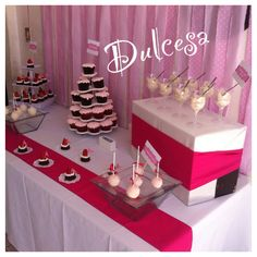 Barra de postres, mesa de dulces, baby shower, bautizo, niña, tartas, cupcakes, brownies, arroz con leche, cakepops, decoración, fiesta, evento, Dulcesa, Toluca y Metepec
