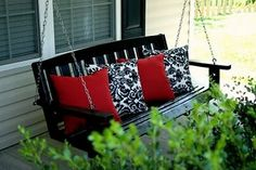 Always wanted a front porch swing just like this one. Now we just need a front porch. Black Painted Furniture, Painting Furniture, White Porch, Decks And Porches, Front Porches, Front Stoop, Patio Decks, Porch Furniture, Furniture Ideas