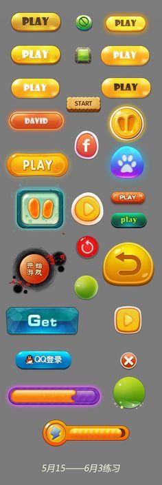 原创作品:按钮练习 Game Gui, Game Icon, Ui Buttons, Game Buttons, Level Design, Graphics Game, Kitchen Games, 2d Game Art, Button Game