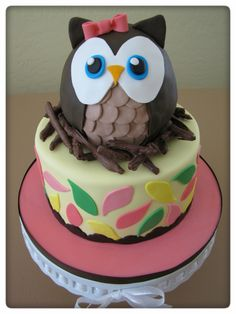 "Whoo-Whoo Owl - This owl cake/theme has been done so many times, but it's what a customer requested, so I plunged in.  I just love how the owl turned out.  It makes me smile each time I look at it.  I carved the owl from 2 halves of the sports ball pan.  I needed it to be a little more oval and less round and this is what I got.  Cake and owl are covered in MMF.  ""Nest"" is made out of chocolate covered pretzels.  TFL"