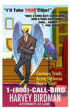 Harvey Birdman Advert by Zeigler on DeviantArt Cartoon Legs, Harvey Birdman, Space Ghost, Turner Classic Movies, Attorney At Law, Adult Cartoons, Game Character, Cartoon Network, Cartoon Characters