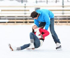 Ice skating, or more likely falling.