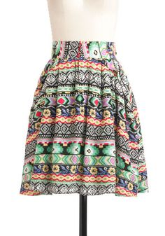 Painted Desert Horizon Skirt - Mid-length, Pockets, Casual, A-line, Multi, Multi, Print, Pleats, Summer, Cotton