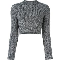 Carven ribbed cropped jumper (179.665 CLP) ❤ liked on Polyvore featuring tops, sweaters, crop top, shirts, black, woolen sweater, rib shirt, shirt top, cropped jumper and wool sweaters