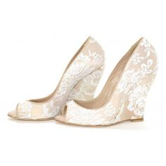 Women's Nude Peep Toe Wedding Shoes Lace Wedge Heel Pumps