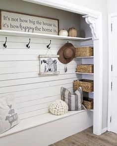 The entry is the first peek visitors get of your house—and for you to toss your things. Check out these BEST entryway ideas for a welcoming and organized space. decor for small spaces Best Entryway Ideas for Small Spaces Home Renovation, Home Remodeling, Hallway Closet, Closet Bench, Front Hall Closet, Closet Mudroom, Entry Closet Organization, Organize Coat Closet, Organized Entryway