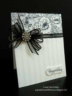 Paper Pleats and Ribbon Roses: Black & White Congrats