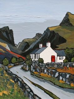 British Artist David BARNES-Mountain Road