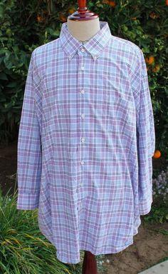 A Forsynth Button Front Shirt size 4XL Mens Plaid Oxford Collar Casual Dress EUC #AForsynth #ButtonFront