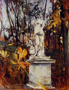 Statue in the Park of Versailles by Giovanni Boldini (1842-1931, Italy)
