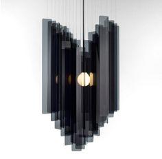 contemporary black Fall Chandelier - perspex stainless steel nickel plate - miranda watkins