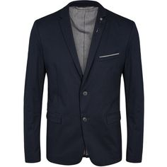 BOSS Benny navy cotton blend blazer ($235) ❤ liked on Polyvore featuring men's fashion, men's clothing, men's sportcoats and old navy mens clothing