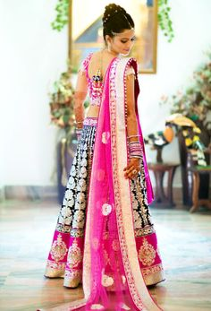 #Bride a la Rose  A #Hot Magenta #Embroidered #Lehenga for an Elegant Bride-to-be! Feel the #love, then, Hit Like!!!
