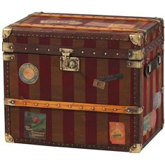 Striped Vintage Style Storage Trunk (€495) ❤ liked on Polyvore featuring home, home decor, small item storage, storage trunk, vintage style home decor and vintage inspired home decor