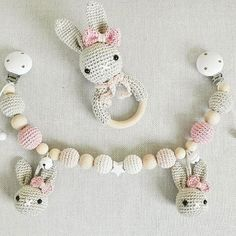 Knitting Patterns Toys Some of my favorite colors in the sweet rabbit set :-) Rattle and pram chain in old pink, hellap … Crochet For Kids, Diy Crochet, Crochet Toys, Baby Knitting Patterns, Amigurumi Patterns, Crochet Patterns, Crochet Baby Mobiles, Handmade Baby, Handmade Gifts