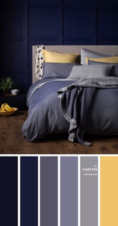 Blue Yellow Bedrooms, Grey And Gold Bedroom, Navy Bedrooms, Blue Yellow Grey, Mauve Bedroom, House Color Palettes, Color Schemes Colour Palettes, Green Colour Palette, Grey Colour Scheme Bedroom