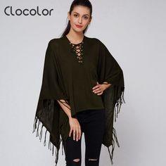 Clocolor Full Sleeve Women Cloak Sweater Pullovers Army Green Batwing Sleeve Fringe Casual Jumper Knitwear Poncho Cape Tassel