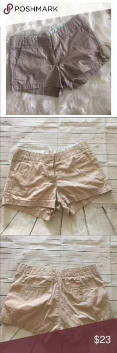 J. Crew chino shorts Broken in. 100% Cotton. Khaki in color. Gently used condition J. Crew Shorts