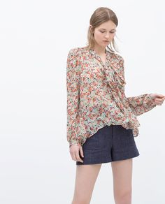 ZARA - WOMAN - PRINTED TIE-NECK BLOUSE