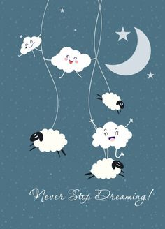 dreaming background stylized cloud sheep moon stars icons