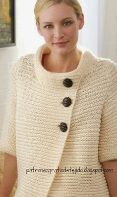 Moldes de saco tejido con palillos Cream Cardigan, Ribbed Cardigan, Needlework, Pullover, Sewing, Knitting, Sweaters, Beautiful, Collection