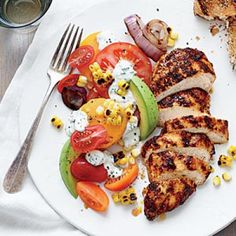 Grilled Chicken Recipes: Grilled Chicken with Tomato-Avocado Salad | CookingLight.com