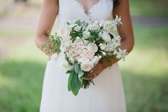 classic autumn bouquet, white david austin roses, white hydrangea, lambs ears, flannel flowers