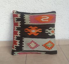 VINTAGE  Home Decor Handwoven  Wool Turkish Kilim Pillow Cover 16''x16'',Tribal  Pillow,Decorative Throw  Pillows,Free Shipping.. $58.00, via Etsy.