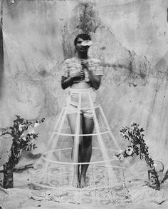 Sasha in Hoop Skirt, 2008 Wet plate Collodion by Kristen Hatgi Sink