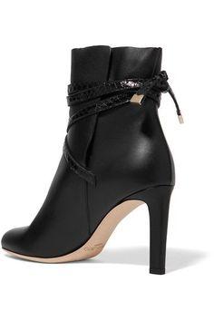 Jimmy Choo - Dalal Elaphe-trimmed Leather Ankle Boots - Black - IT