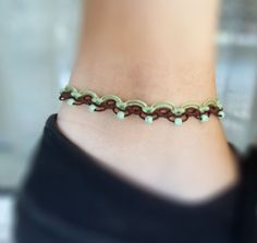 Items similar to Anket macrame bracelet green and brown with turquoise beads Beaded Anklets, Macrame Bracelets, Slave Bracelet, Bare Foot Sandals, Turquoise Beads, Green And Brown, Barefoot, Jewelry Gifts, Jewlery