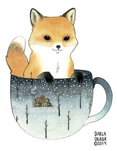 Fox in a Teacup by Darla Okada One of four paintings commissioned by Madison Park Greetings for their 2014 holiday greeting card collection.