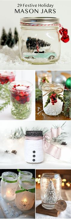 Make festive mason jar Christmas crafts, including ornaments, centerpieces, luminaries mantel ideas, and more!