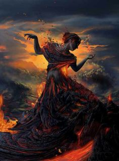 Drawing. Vulcano. Woman. Fire.
