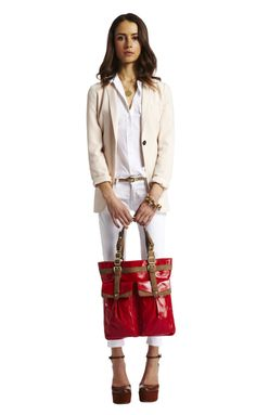 coated red canvas tote