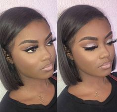 Thriving Hair Glueless Straight Short Virgin Human Hair Undercut Bob Pre-Plucked 360 Lace Wigs - Makeup Looks Dramatic Black Girl Makeup, Girls Makeup, Dark Skin Makeup, Hair Makeup, Eye Makeup, Makeup Brushes, Curly Hair Styles, Natural Hair Styles, Flawless Makeup