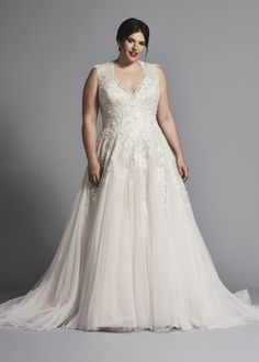 dba224258d4 Plus size sleeveless V-neck tulle A-line wedding dress with embroideries.