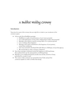 Example Buddhist Wedding Ceremony Outline ILl Definitely Be