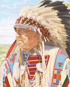 A Crow Elder gazes across the beautiful landscape of the Little Bighorn Valley. His proud and stoic presence reveals the look and emotion of the life and history of his people, through many generations.