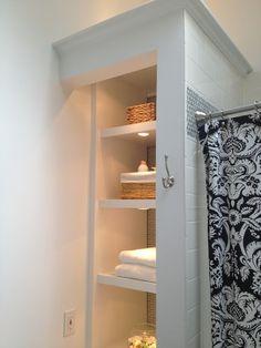 Open bathroom closet 60 ideas for 2020 Bathroom Linen Closet, Open Bathroom, Downstairs Bathroom, Bathroom Renos, Bathroom Storage, Bathroom Shelves, Shower Bathroom, Master Bathrooms, Budget Bathroom