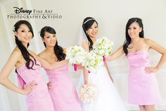 These bridesmaids showed some Disney love as they posed for a photo before the ceremony #Disney #wedding #pink #bridesmaid