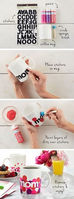 DIY Personalized Mugs. Great for Mothers Day!