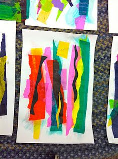 Matisse inspired collage with tissue paper, 1st grade