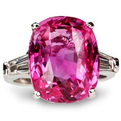 Pink sapphire and diamond ring  / 10.88 carat pink sapphire, accent diamonds in platinum / from lussori.com